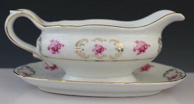 Signed Germany Raspberry Floral Gold Gilt Porcelain Gravy Boat w/ Underplate
