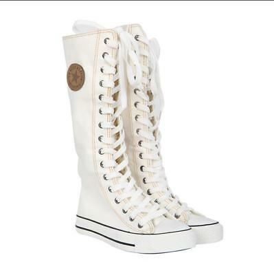 HOT Women's Shoes Punk EMO Sneaker Lace Up Zip Boot Knee High Flat Tall Boots