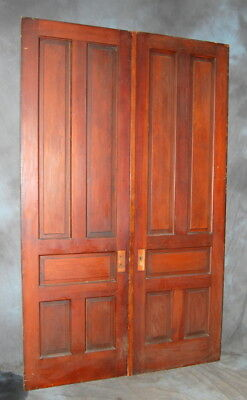 "Original Antique 30"" x 98""  5 Panel Pine Double Door Set, Vintage"