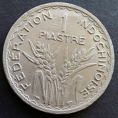 1947 French Indochina 1 Piastre Coin