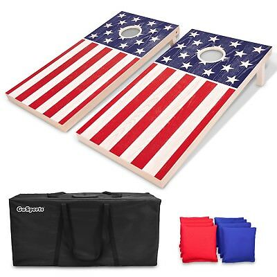 GoSports Regulation Size Solid Wood Cornhole Set - American Flag USA Game Boards