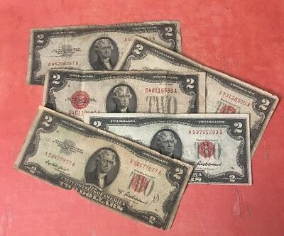 Antique Estate Lot of (5) $2.00 Red Seals - Paper Money Collection