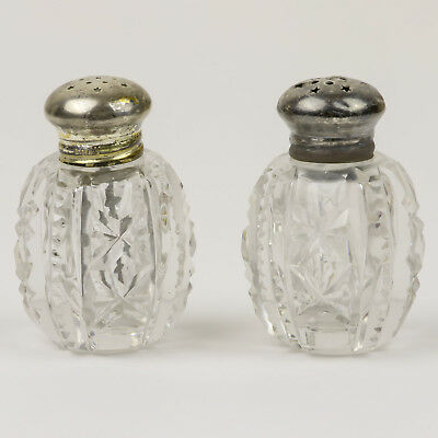 Antique Cut Crystal Salt and Pepper Shakers with Sterling Silver Tops Vintage
