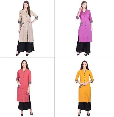 Indian Pakistani Bollywood Kurta Kurti Casual Women Cotton Dress Top Tunic New