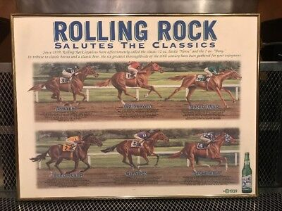 ROLLING ROCK BEER ~ RARE ~ Salutes the Classics Horse Racing ~ Advertising Sign