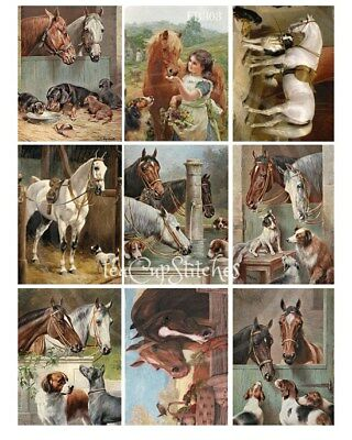 Vintage Horses~Dogs~Painting Repros~9 FABRIC BLOCKS~Collie~Beagle~Dachshunds~303