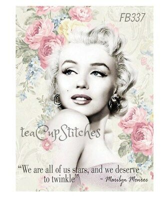 Marilyn Monroe~Vintage Pink Roses~FABRIC BLOCK~Make Pillow~Frame~Stars Quote~337