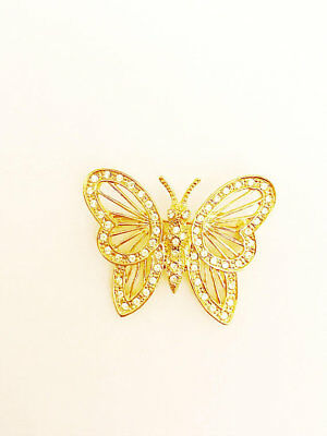 ROMAN Rhinestone Gold Butterfly Pin Vintage Pins Gold Tone Signed Brooch Insect