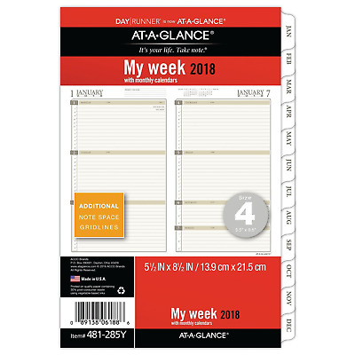 """At-A-Glance Day Runner Weekly Planner Refill Size 4  Loose-Leaf 5.5"""" x 8.5"""" Plan"""