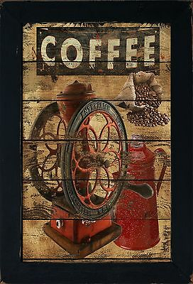 Primitive Country Kitchen Coffee Shop Mill Grinder Cup Bean Wall Art Sign