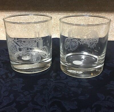 """Set of 2 John Deere Etched Tractor Logo 3.5"""" Whiskey/Drinking Glasses"""