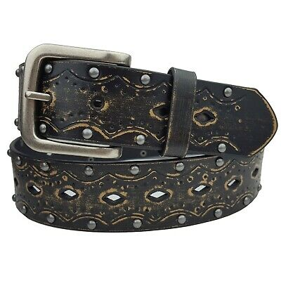 Vintage Embossed Studded Leather Belt in Black, Brown and White