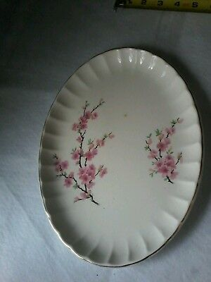 Vintage WS George Bolero Peach Blossom Large Platter Serving Tray 22K Gold