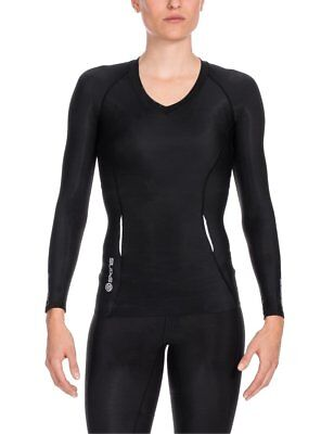 Skins A200 Women's Long Sleeve Compression Top, Small, Black/Black