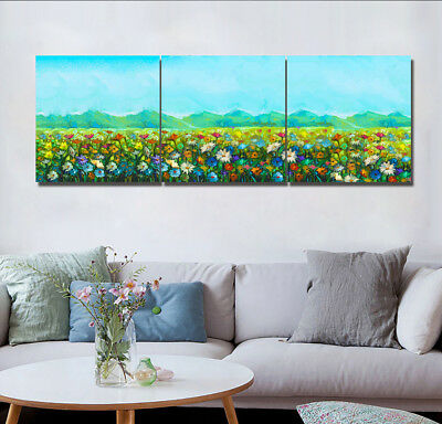 3 Panels Canvas Print Art Oil Painting Watercolor Flowers Wall Decor No Frame