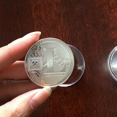 Silver Litecoin Commemorative Coin Round LTC Physical Collectible Miner With Box