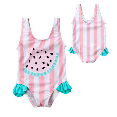 US Baby Girl Watermelon Striped Swimsuit Swimwear Swimming Bikini Swim Beachwear