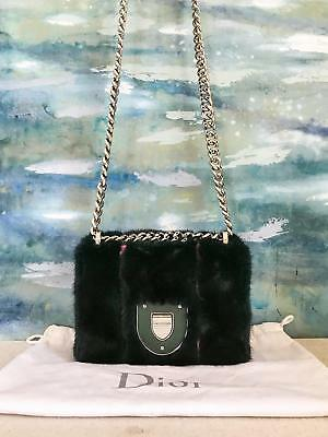 6500 CHRISTIAN DIOR Green Fur Leather Diorama Club Flap Bag Silver HW  RUNWAY f536e16bd2dc