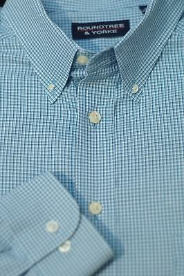 Roundtree & Yorke Men's Stone Blue & White Check Cotton Casual Shirt XLT XL Tall