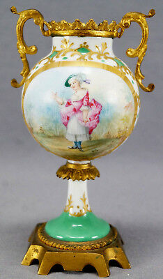 Sevres Style Hand Painted Signed PG Colonial Lady & Gilt Ormolu Urn 1890 - 1914