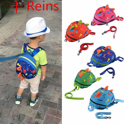 Cartoon Baby Toddler Kids Dinosaur Harness Strap Backpack with Leash Reins