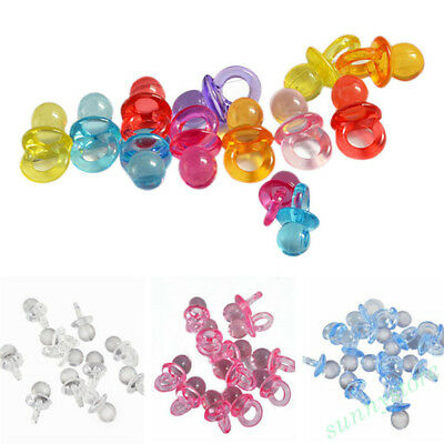 50pcs Mini Pacifiers Dummies Baby Shower Supply Toys Acrylic Charms Pendant Gift