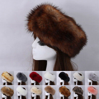 Women Russian Fluffy Faux Fur Hat Headband Winter Ear warmer Ski Hat TP