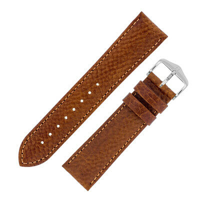 Hirsch FOREST Genuine Buffalo Calf Leather Watch Strap and Buckle in GOLD BROWN