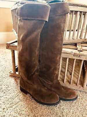 c0a227b909e3f New Franco Sarta Brown Suede Leather Tall (Knee High) Boots Size 7 1