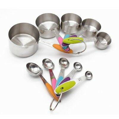 10pcs Kitchen Cooking Stainless Steel Measuring Cups Measuring Spoon Scoop Set