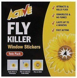 Active Fly Killer Window Stickers Twin