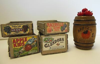 Dollhouse Miniatures Handcrafted Wood crates w/label  & apple barrel 1:12 scale