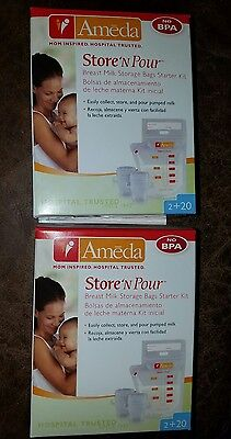 2 Boxes - Ameda Store N Pour Breast Milk Storage Bags w Adapters 40 total bags
