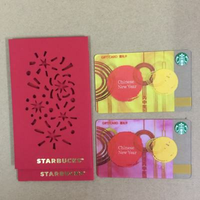 Rare Starbucks 2016 China New Year Gift Card 2-cards With 2-Sleeves Pin Intact