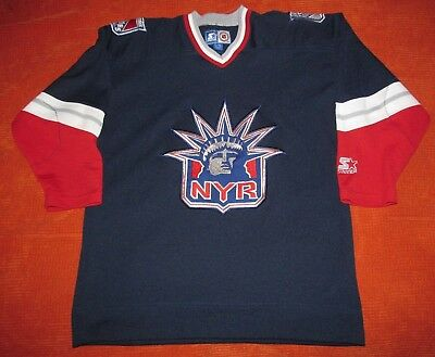 buy online 4e485 ac617 NEW YORK RANGERS Kids Lady Liberty Alternate Navy Starter Jersey Boys XL  Youth