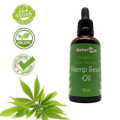 Naturima 100% Cold Pressed Hemp Seed Oil Unrefined Organic 50ml