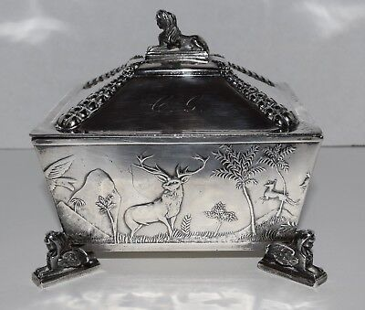 Meriden Silver Plate Co Quadruple Plate Footed Box Egyptian Revival 1800s