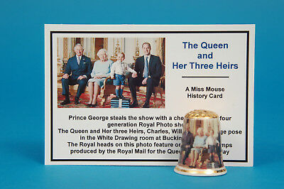 The Queen & Her Three Heirs Gold Top China Thimble + History Card B/57