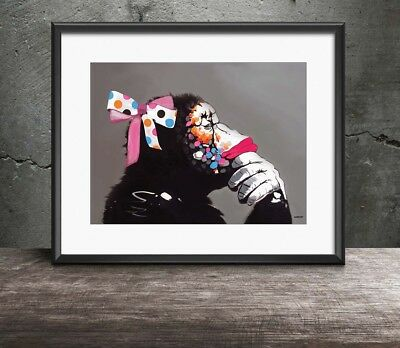 Banksy 'Monkey with Ribbons' Three Size Options A4 A3 A2  DJ Chimp Gorilla NEW