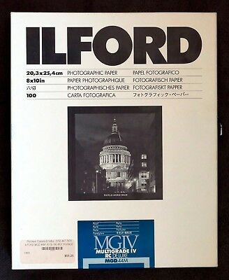 Ilford De Luxe MGIV RC Pearl 8x10 inches (20.3x25.4 cm) - 98 ct. (may be fogged)