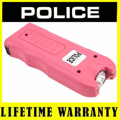 POLICE Stun Gun 800 PINK - 6 BV Mini Rechargeable With LED Light + Case