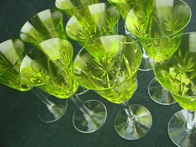 A Set Of 10 Beautiful Cut Glass Sherry Glasses In A Striking Lime Green