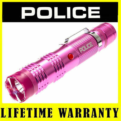 POLICE Metal Pink Stun Gun Rechargeable M12 78 BV With LED Flashlight Taser Case