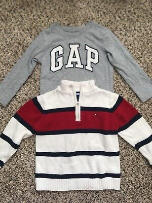 3T/4T Boys Clothes Tommy Hilfiger White Sweater GAP Logo Longsleeves Top Gray