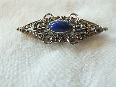 "Beautiful Brooch Pin Silver Tone Filigree Marbled Blue Cabochon 2 3/8 x 7/8"" WOW"