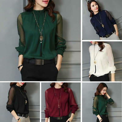 8a41129f5aa4a Women Ladies Long Sleeve Blouse Work OL Formal T-shirt Tops with Necklace  Chain