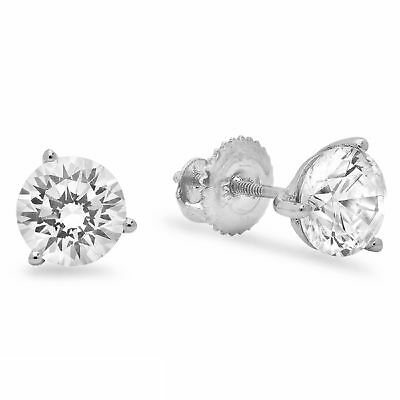 1ct Round Cut Stud Solitaire Earrings Martini Solid 14k White Gold Screw Back