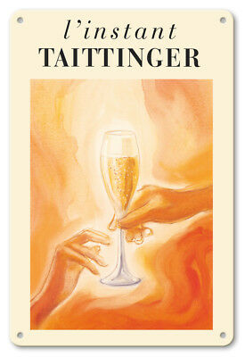 L'Instant Taittinger Champagne - 1980 - 8in x 12in Vintage Metal Sign