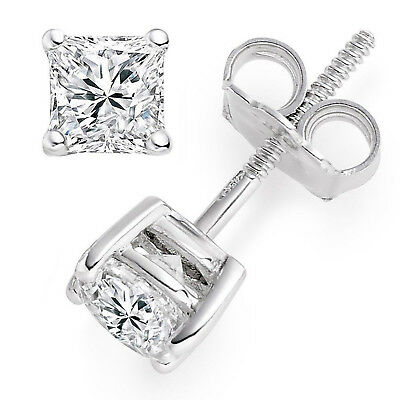 0.5ct Princess Cut Stud Solitaire Earrings Solid 14k White Gold Screw Back
