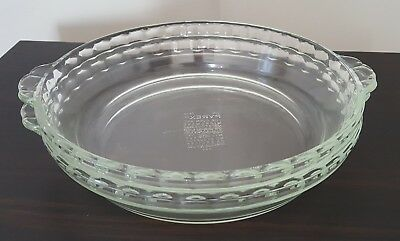 """Two Pyrex 9"""" Clear Glass Pie Plate Dish Fluted Edge Scalloped Tab Handles # 229"""